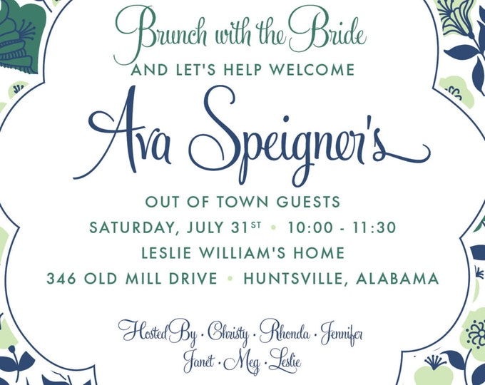Mint & Navy Fancy Flower | Party Invitation