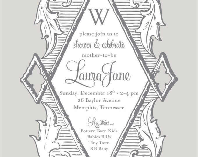 Antique Ornate Diamond | Baby Shower Invitation