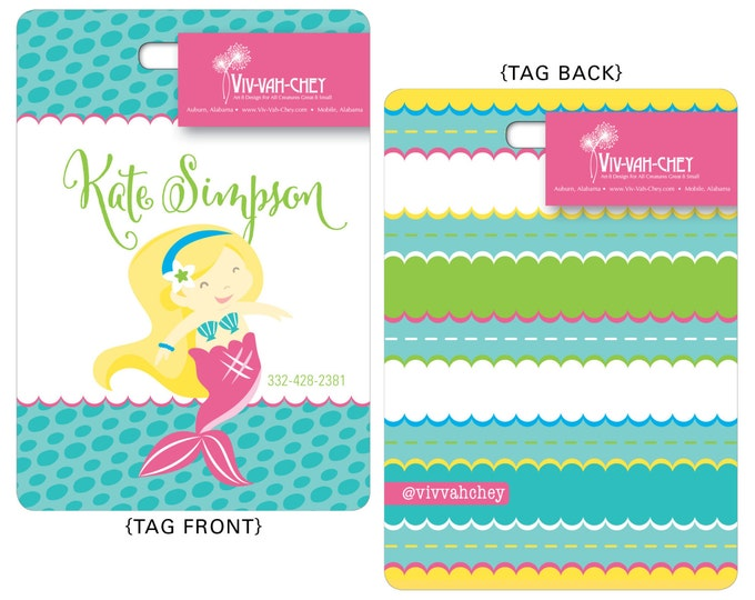 Bright Mermaid | Personalized Luggage Bag Tag