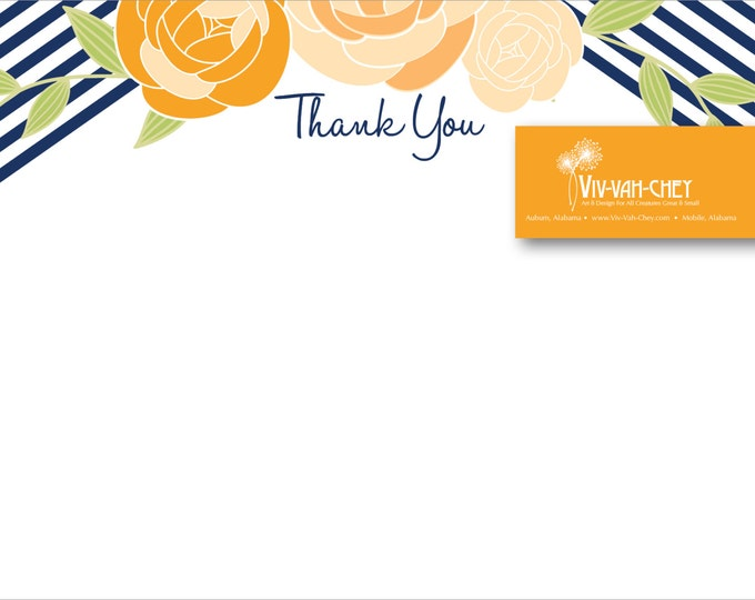 Orange & Navy Rosette Thank You Note | Digital Download