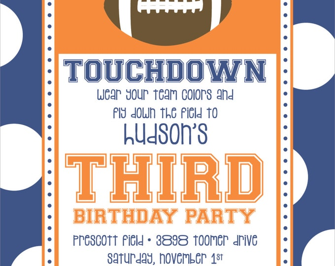 Football Touchdown Birthday Party Invitation | Digital Download
