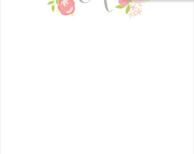 Initial Floral Wreath | Personalized Stationery
