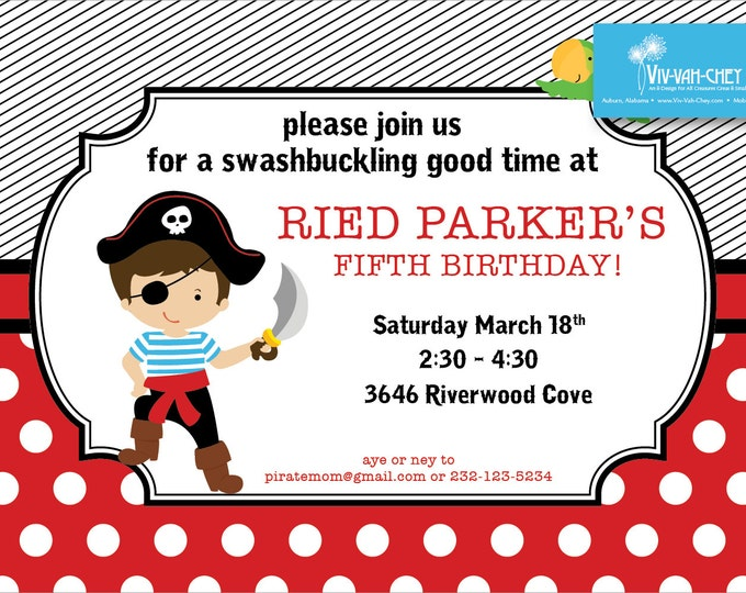 Polka Dot Pirate Birthday Invitation