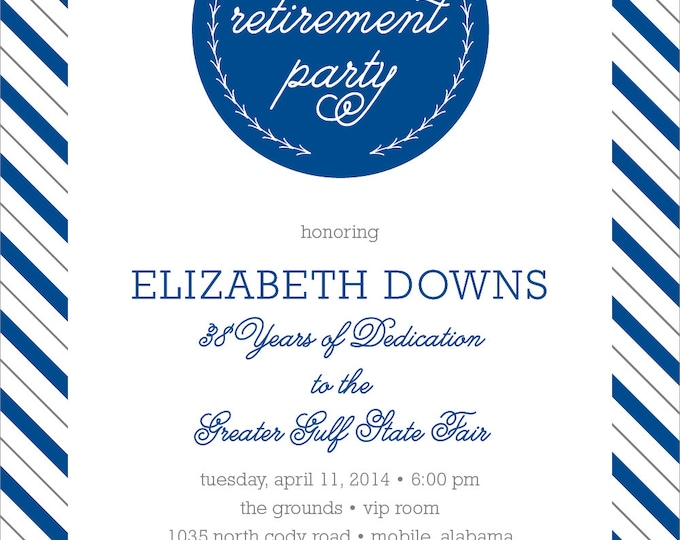 Modern Stripe Retirement Party Invitation