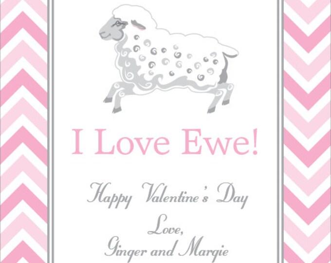 Little Lamb Chevron   Children's Personalized Valentine Card