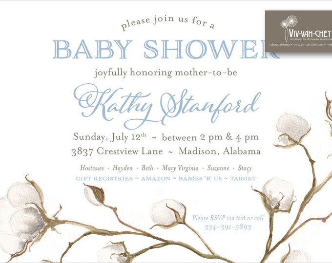 Painted Cotton Blossom Baby Shower Invitation |  Digital Download