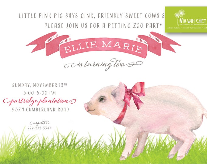 Pretty Pig on the Farm | Birthday Party Invitation