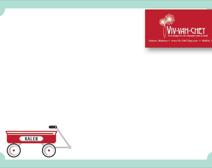 Little Red Wagon | Personalized Children's Stationery