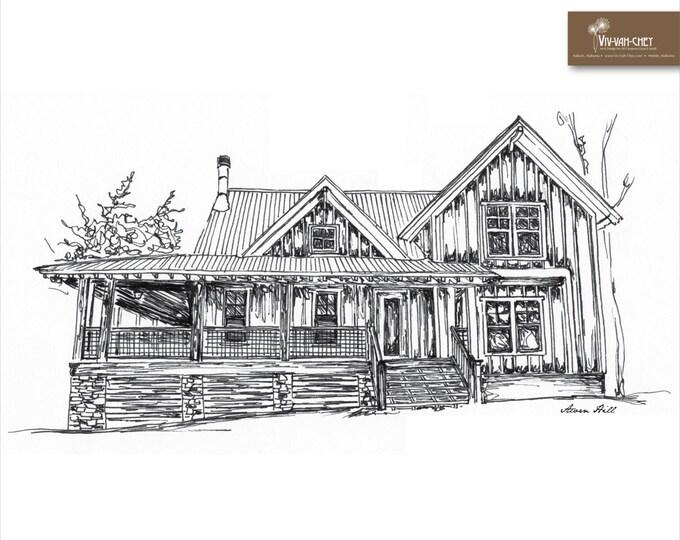 8 x 10 Custom Home or Venue Sketch | Print