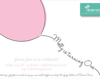 Fly Away Balloon First Birthday Invitation | Digital Download