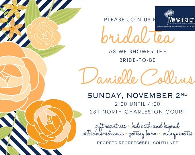 Orange & Navy Rosette | Party Invitation