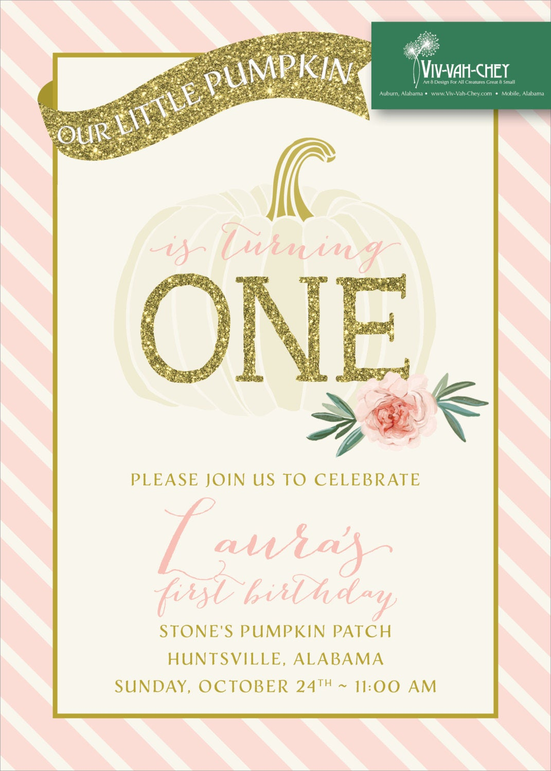 Pretty Fall Pumpkin | First Birthday Party Invitation