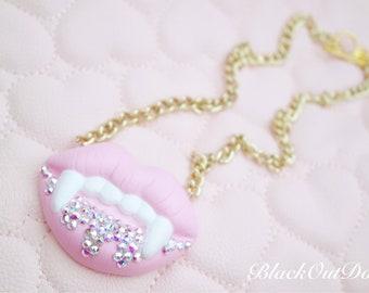 Pink Rhinestone Swarvoski Crystal Fangs Drip Lips Gold Chain Necklace