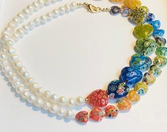 Blue Millefiori Glass /& Freshwater Pearl Necklace Trendy Jewelry