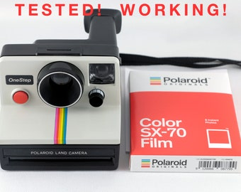 Vintage Polaroid OneStep SX-70 White Rainbow Stripe Instant Camera with One Pack of New Polaroid SX-70 Color Film - Tested & Working