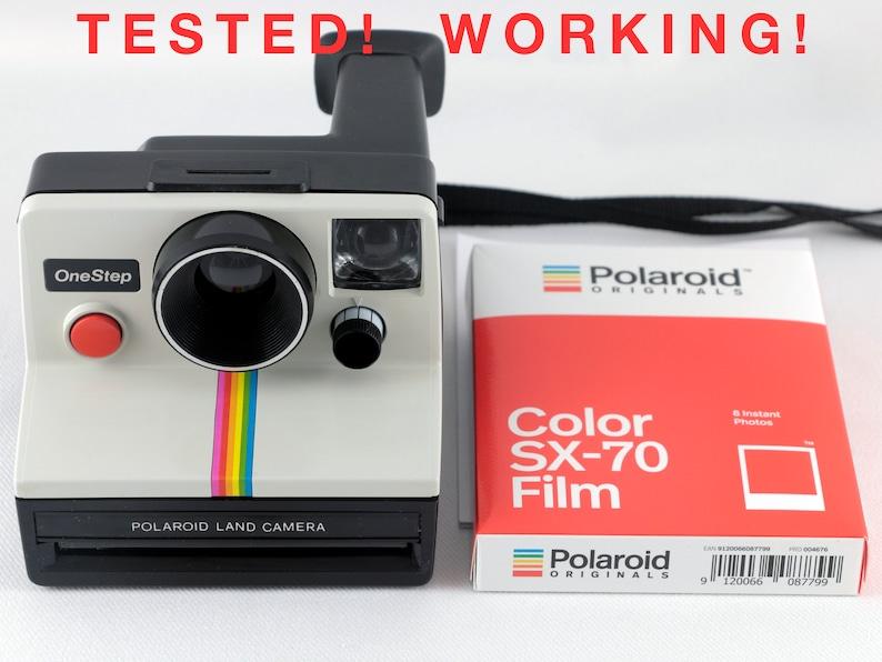 Vintage Polaroid OneStep SX-70 White Rainbow Stripe Instant image 0