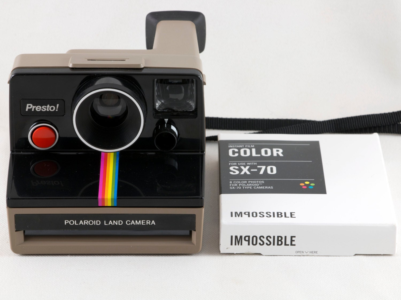 808c1ab06d Vintage Polaroid Presto Black & Tan SX-70 Rainbow Stripe | Etsy