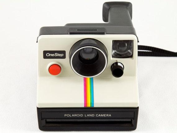Vintage Polaroid OneStep SX-70 White Rainbow Stripe Instant   Etsy 03874d8e72