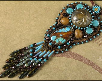 Bead Embroidered Necklace - Southwest Style