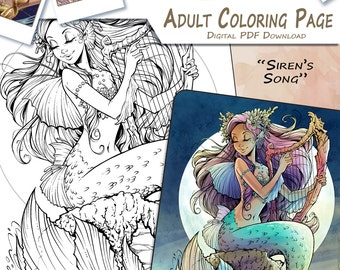 Siren's Song - Adult Coloring Page