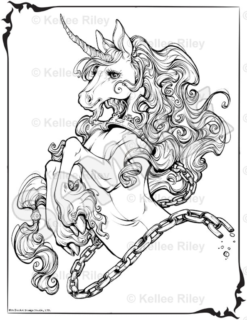 Unicorn adult coloring pages etsy