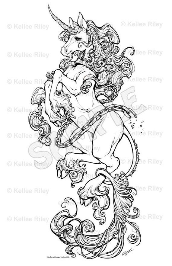 Unicorn Adult Coloring Pages | Etsy