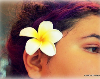 Plumeria Hair clip, White & Yellow Plumeria,Tropical hair flower,Frangipani, Hawaii Polynesian, Luau, Beach Wedding, FREE Mini PLUMERIA clip