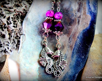 Beach Day Beaded Purple Magenta Seahorse Drop Dangle Earrings Silver with Metallic Purple Bicone Beads - Summer Beach Sand Luau Weddings