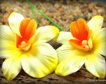 Orchid Hair Clip or Stem Pick~ Foam Yellow, White, Orange - Realistic Hawaii Polynesian Hula Dancer Wedding Luau Beach- comes WITH FREE GIFT