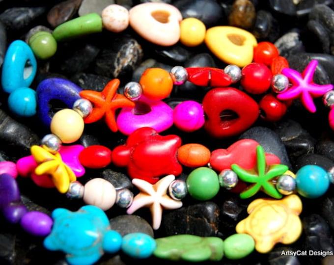 Rainbow colors! Howlite Stone Boho bracelets, set of 3, Surfer bracelet, Stretch elastic, Turtle, starfish, hearts, Beach jewelry, with gift