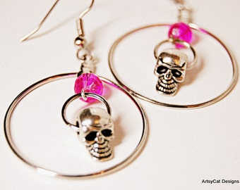 Silver Skull Hoops with Crystal accent! 3D Skull charms hang inside Silver Hoops with Czech Crystal - Goth, Punk, Day of the dead, Halloween