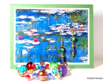 Greeting card with Water Lilies Print, Matching Earrings and Bracelet -Monet Water Lilies Gift set, Birthday, Mothers Day, Anniversary gift