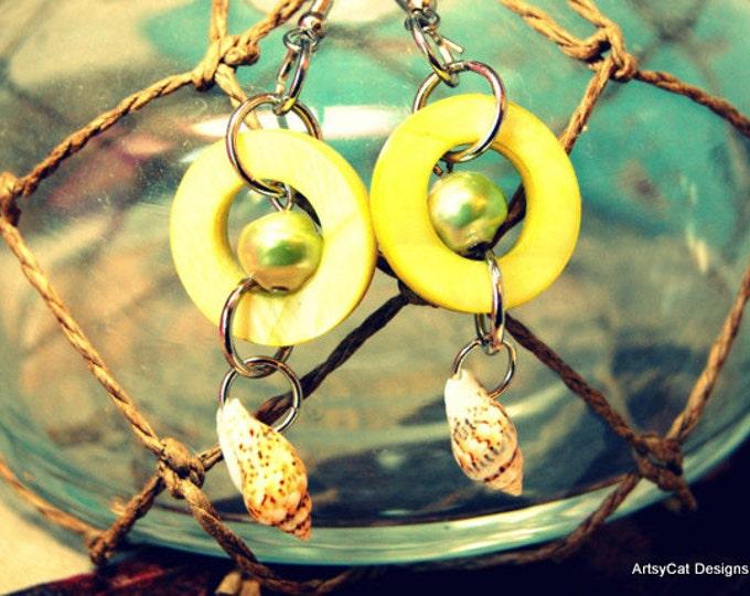 Green Hawaiian Mother of Pearl Drop Earrings, Fresh Water Pearls, Tropical, Island, Boho, Nassa Shells, Comes With FREE Mini Plumeria clip