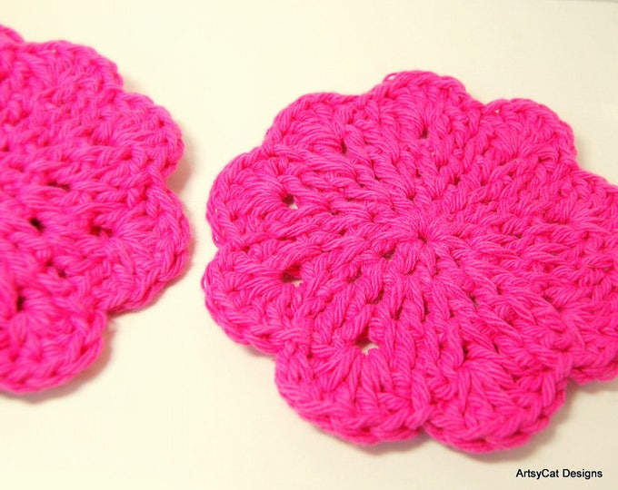 Flower Shaped Face Scrubbies/Coasters! FREE Gift set-3 round! Many Colors to choose, SET of 5 USA Organic Cotton, Makeup Remover, Dish scrub
