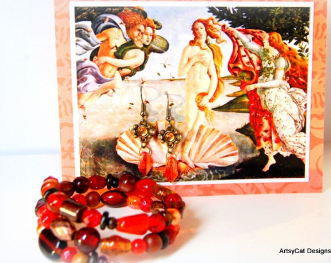 Greeting card Gift set: Birth of Venus by Botticelli, comes with Matching Earrings & Wrap Bracelet, Birthday, Mothers Day, Anniversary gift