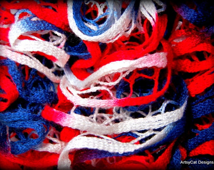 Crochet Ruffle Scarf- Red, White, and Blue~ AMERICA- Crocheted Premier Starbella Ruffle Yarn Scarf -Christmas gift, Holiday gift, Free gift