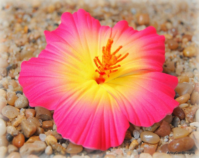 New! Pink & Yellow Hibiscus Hair Clip, Hawaiian hair flower, Tropical, Realistic, Hula, Beach Wedding, Luau, With FREE Mini Plumeria clip