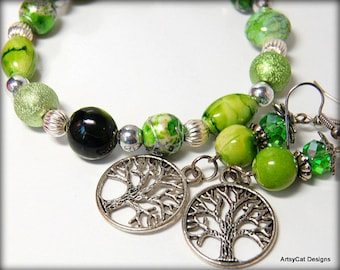 Tree of Life - Green and Silver Beaded Earrings & Bracelet Set - Celebrate Life and Nature - Earth Energy, Boho, Green Earth, Yoga, Zen