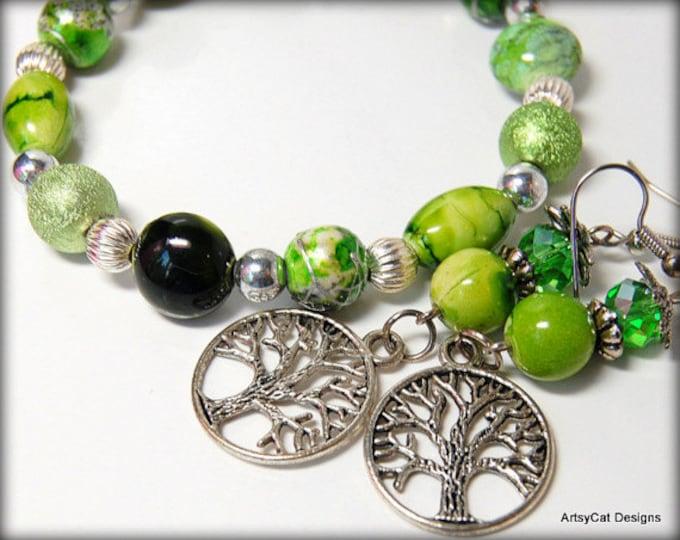 Tree of Life - Green and Silver Beaded Earrings & Bracelet Set - Celebrate Life and Nature - Earth Energy, Boho, Green Earth, Yoga, Zen