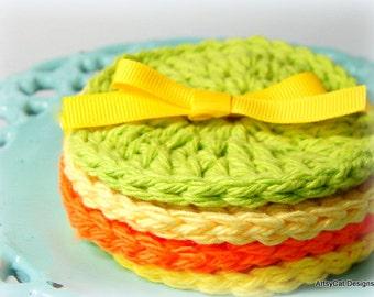 BOGO! Citrus Summer- Lemon Lime Orange, Set of 4 Cotton Face Scrubbies, Coasters, Dish Scrubber- USA Organic Cotton, Makeup Remover, Eco