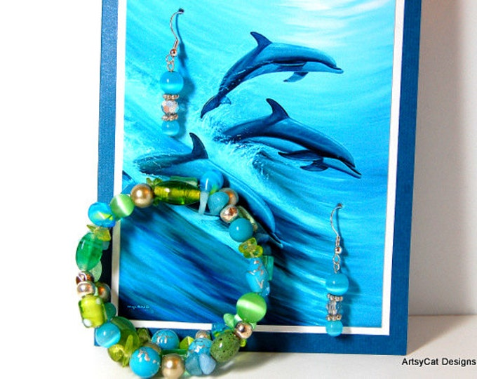 Greeting card Gift set, Dolphins playing in the Surf, by Wyland, Matching Earrings & Wrap Bracelet - Birthday, Mothers Day, Anniversary