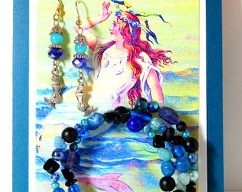 Mermaid Greeting Card Gift set: Blank card with Vintage Mermaid, Matching Blue Earrings with Mermaid charms & Coordinating Wrap Bracelet