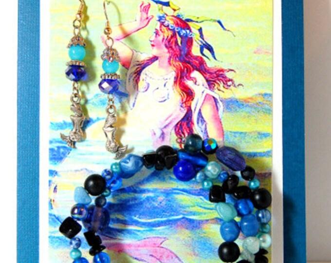Mermaid Greeting Card Gift set: Blank card with Vintage Mermaid, Matching Blue Earrings with Mermaid charms & Coordinating Wrap Bracelet