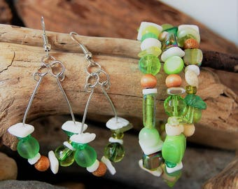 Green Maile Hawaiian Beach Glass & Shell Earrings Bracelet Set- Shells, wood, puka shells, beach glass, beach jewelry, boho, with FREE gift!