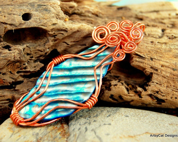 Blue Mother of Pearl Pendant Necklace wrapped in Copper Wire- Natural shaped Shell infinity Spiral top, Comes with FREE PLUMERIA Hairclip