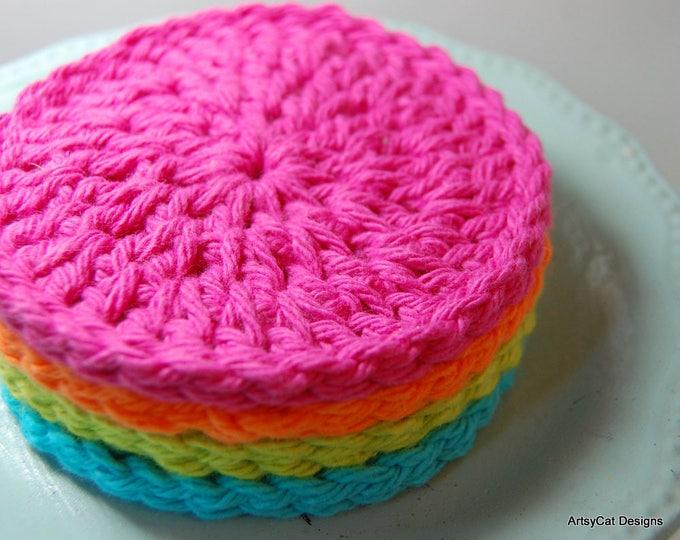 BOGO! Neon Rainbow, Set of 4 Cotton Face Scrubbies/Coasters, Dish Scrubber USA Organic Cotton, Face Scrubby, Makeup Remover, Dish cloth, Eco