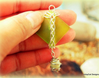 Green Diamond Hawaiian Beach Sea Glass with Braided Silver Wire with Carved Jade Accent- Recycled & Upcycled- FREE Mini PLUMERIA HAIRCLIP