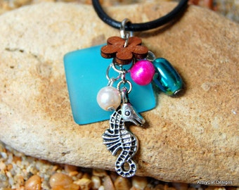 Aqua Blue Hawaiian Beach Glass Pendant- Pink & White Pearls, Seahorse, Rainbow Glass, Wood Plumeria Flower With FREE Mini PLUMERIA Hairclip
