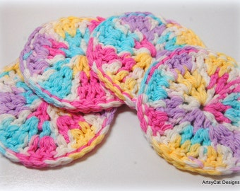 BOGO! Flower Garden- Blue, Hot Pink, LavendeR, & Yellow- Set of 4 Cotton Face Scrubbies, Coasters, Scrubber- USA Organic Natural Cotton, Eco