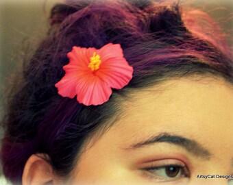 "Pink Hibiscus Hair Clip, small 2"" Moana hair flower clip, Moana party favor, Tropical hair flower, Hawaiian hair clip, Beach, wedding, luau"